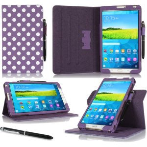 rooCASE - Dual View Folio Case for Samsung Galaxy Tab Pro 8.4, Polkadot Purple