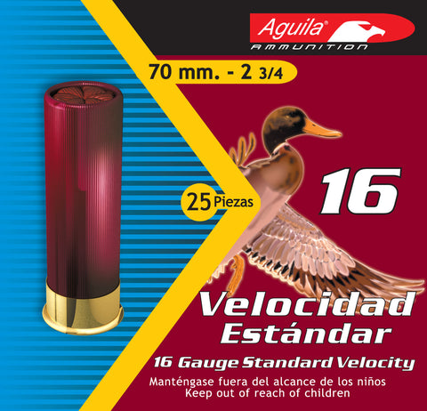 "Aguila 1CHB1616 Field  16 Gauge 2.75"" 1 oz 6 Shot 25 Bx/ 10 Cs"