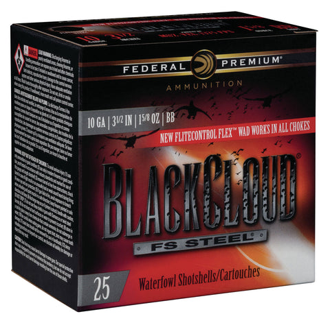 "Federal PWBX107BB Black Cloud FS Steel 10 Gauge 3.50"" 1 5/8 oz BB Shot 25 Bx/ 10 Cs"