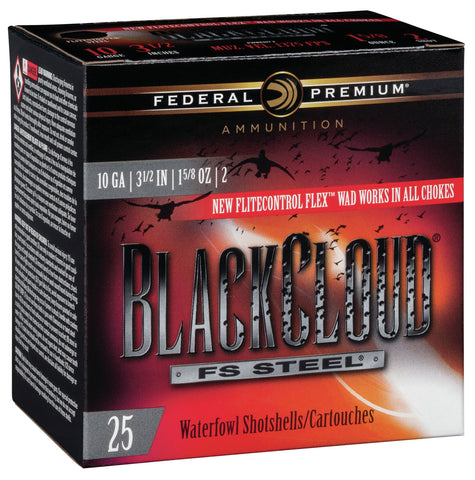 "Federal PWBX1072 Black Cloud FS Steel 10 Gauge 3.50"" 1 5/8 oz 2 Shot 25 Bx/ 10 Cs"