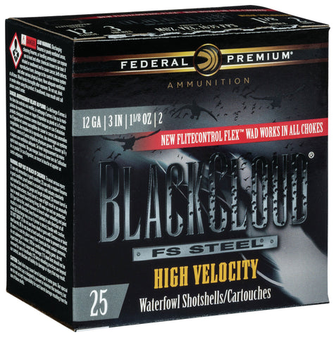"Federal PWBXH1432 Black Cloud FS Steel High Velocity 12 Gauge 3"" 1 1/8 oz 2 Shot 25 Bx/ 10 Cs"