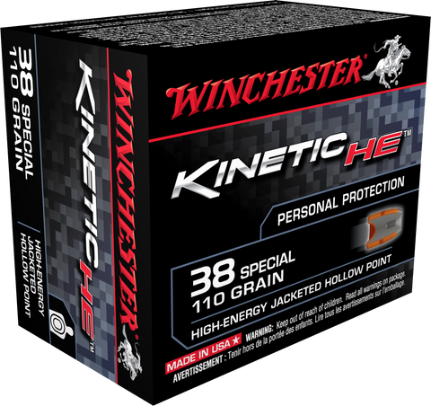 Winchester Ammo HE38JHP Kinetic High Energy 38 Special 110GR Jacketed Hollow Point 20 Bx/10 Cs