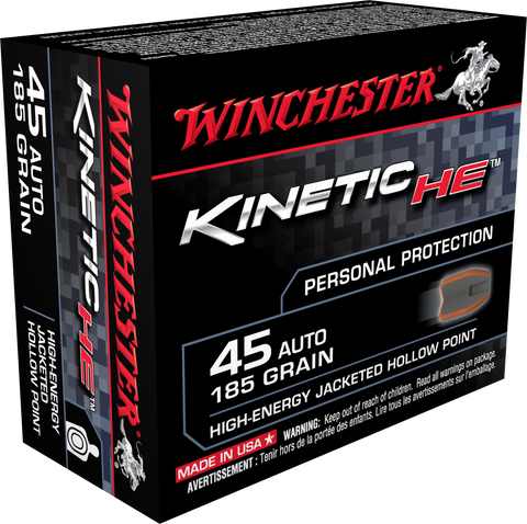 Winchester Ammo HE45JHP Kinetic High Energy 45 Automatic Colt Pistol (ACP) 185 GR Jacketed Hollow Point 20 Bx/ 10 Cs