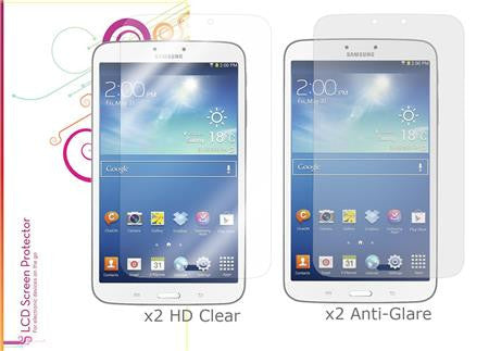rooCASE - 4-Pack Screen Protectors (x2 HD Clear & x2 Anti-Glare) for Samsung Galaxy Tab 3 8.0