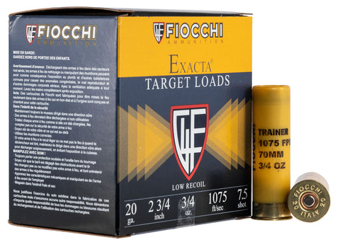 "Fiocchi 20LITE75 Exacta Trainer 20 Gauge 2.75"" 3/4 oz 7.5 Shot 25 Bx/ 10 Cs"