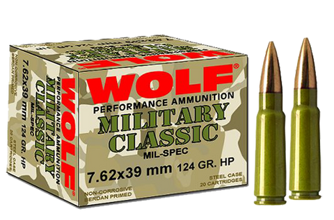 Wolf MC762BFMJ Military Classic 7.62x39mm 124 GR Full Metal Jacket 20 Bx/ 50 Cs 1000 Total - 1000 Rounds