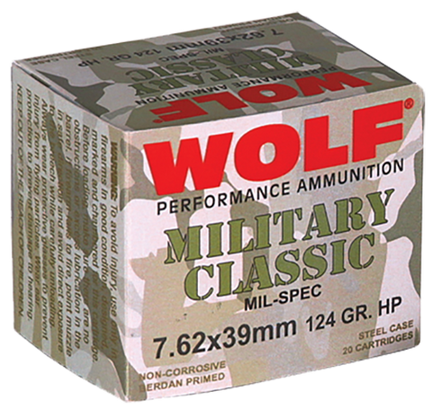 Wolf MC762BHP Military Classic 7.62x39mm 124 GR Jacketed Hollow Point 1000 Rds Total 20 Bx/ 50 Cs - 1000 Rounds