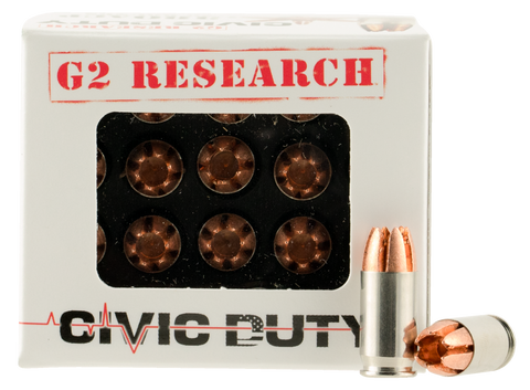 G2 Research CIVIC 380 Civic Duty 380 Automatic Colt Pistol (ACP) 64 GR Copper Expansion Projectile 20 Bx/ 25 Cs