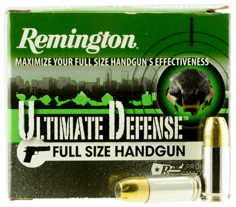Remington Ammunition HD9MMD Ultimate Defense Full Size Handgun 9mm Luger +P 124 GR Brass Jacket Hollow Point 20 Bx/ 25 Cs