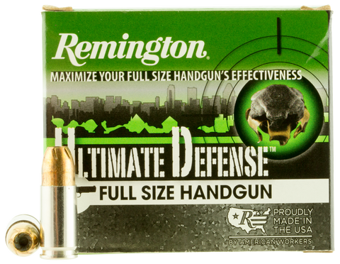 Remington Ammunition HD9MMC Ultimate Defense Full Size Handgun 9mm Luger 147 GR Brass Jacket Hollow Point 20 Bx/ 25 Cs