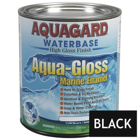 Aquagard Aqua Gloss Waterbased Enamel - 1Qt - Black