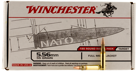 Winchester Ammo USA3131W USAW 223 Remington/5.56 NATO 55 GR Full Metal Jacket 180 Bx/ 5 Cs - 180 Rounds
