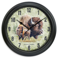 American Expedition 11.5in Diameter Clock - Bison