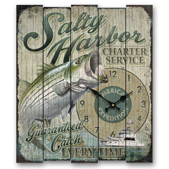 American Expedition Lrg Wooden Clock-Salty Harbor Strpd Bass
