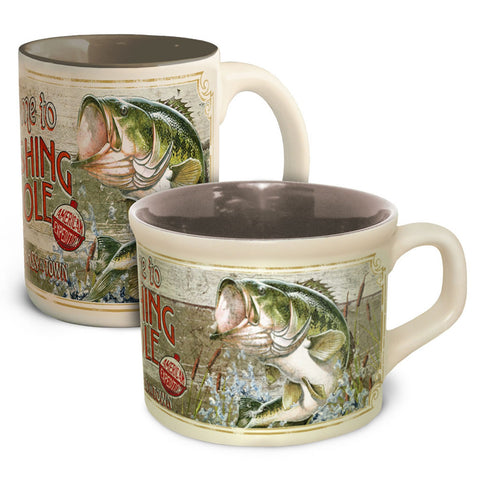 Am. Expedition Fishing Hole Coffee and Soup Mug Set-Bass