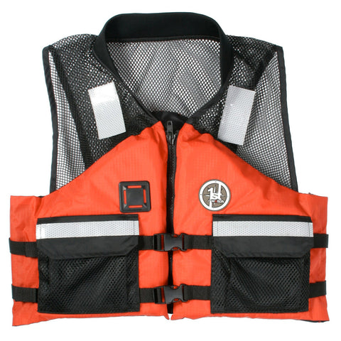 First Watch AV-500 Mesh Crew Vest - Orange/Black - Large