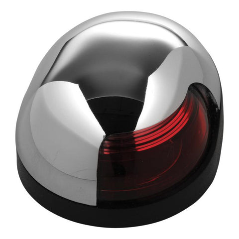 Attwood Quasar™ 2-Mile Deck Mount, Red Sidelight - 12V - HIPP/Chrome Housing w/Black Base