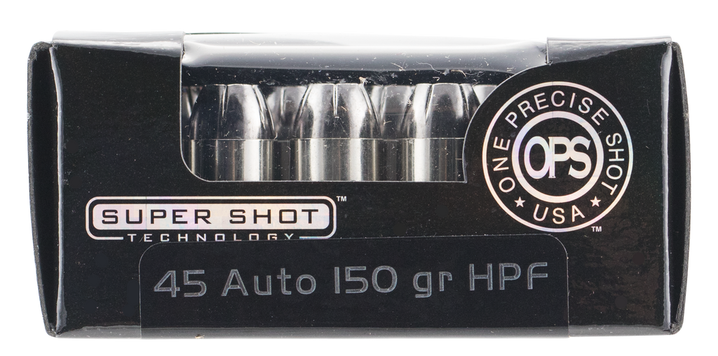 Ammo Inc 45150HPF OPS 45 Automatic Colt Pistol (ACP) 150 GR Hollow Point 20 Bx/ 10 Cs