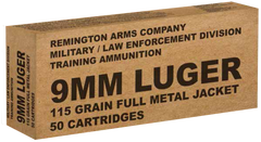 Remington Ammunition B9MM3 Overrun 9mm Luger 115 GR Full Metal Jacket 50 Bx/ 10 Cs