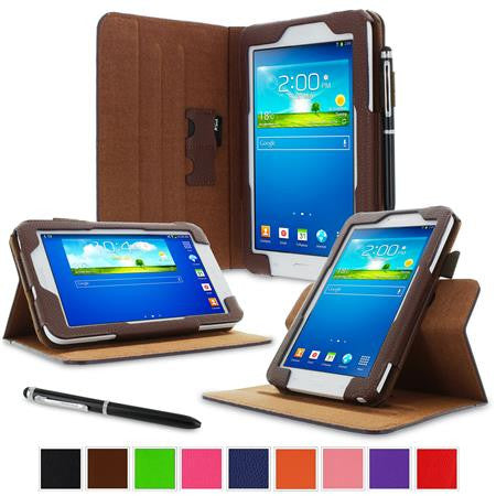 rooCASE - Dual View Folio Case for Samsung Galaxy Tab 3 Lite 7.0, Brown