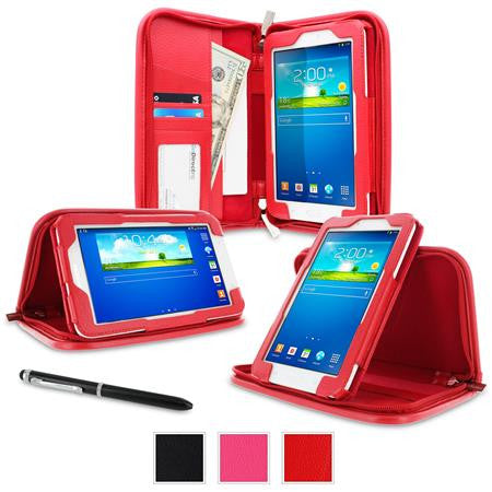 rooCASE - Executive Portfolio Leather Case for Samsung Galaxy Tab 3 Lite 7.0, Red