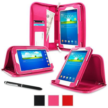 rooCASE - Executive Portfolio Leather Case for Samsung Galaxy Tab 3 Lite 7.0, Magenta