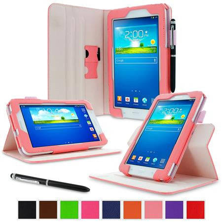rooCASE - Dual View Folio Case for Samsung Galaxy Tab 3 Lite 7.0, Pink