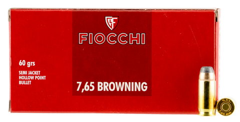 Fiocchi 32SJHP Shooting 32 Automatic Colt Pistol (ACP) 60 GR Semi-Jacketed Hollow Point 50 Bx/ 20 Cs