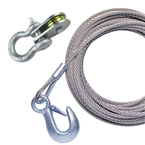 "Powerwinch 50' x 7/32"" Stainless Steel Universal Premium Replacement Galvanized Cable w/Pulley Block"
