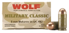 Wolf MC918FMJ Military Classic 9x18 Makarov 95 GR Full Metal Jacket 50 Bx/ 20 Cs - 1000 Rounds