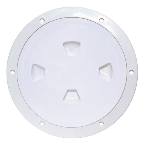 "Beckson 8"" Smooth Center Screw-Out Deck Plate - White"