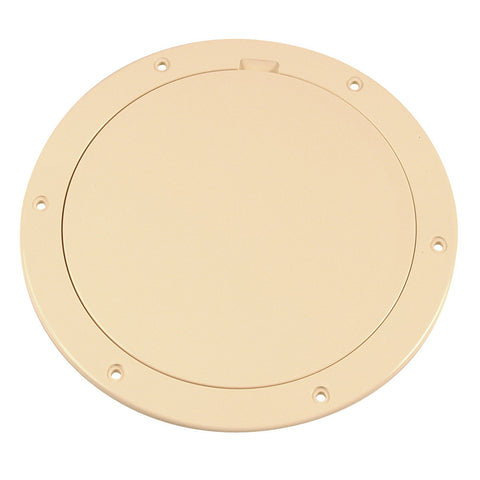 "Beckson 6"" Smooth Center Pry-Out Deck Plate - Beige"