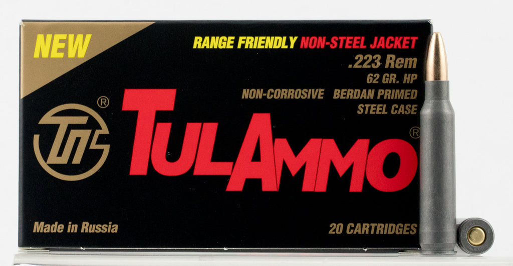 Tulammo TA223624 Centerfire Rifle 223 Remington/5.56 NATO 62 GR Hollow Point 20 Bx/ 50 Cs