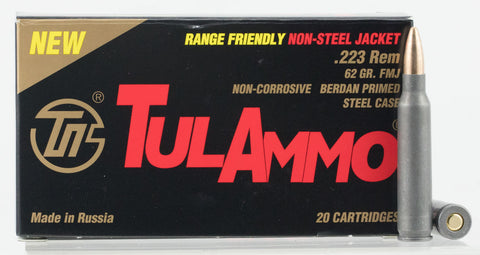 Tulammo TA223625 Centerfire Rifle 223 Remington/5.56 NATO 62 GR Full Metal Jacket 20 Bx/ 50 Cs