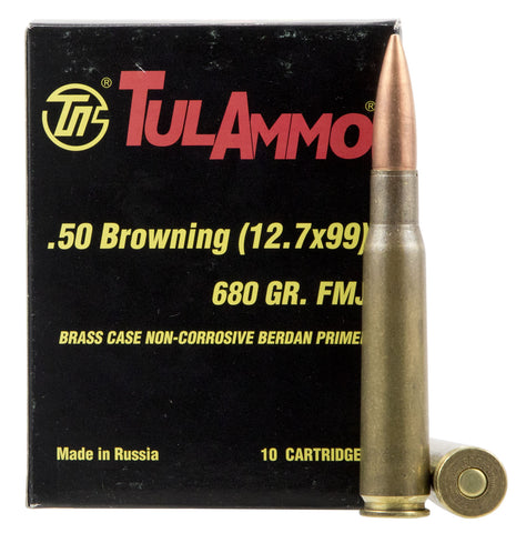 Tulammo TA127091 Centerfire Rifle 50 Browning Machine Gun (BMG) 680 GR Full Metal Jacket 10 Bx/ 6 Cs