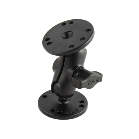 "RAM Mount 1"" Ball Double Socket Short Arm w/ 2 2.5"" Round Bases"