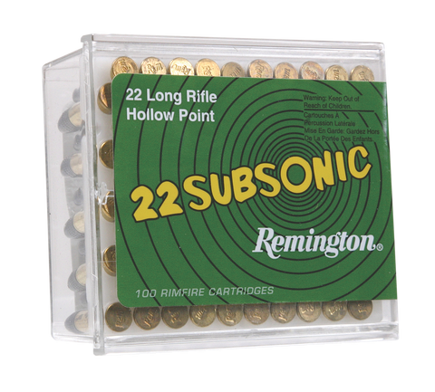 Remington Ammunition SUB22HP1 Subsonic 22 LR Hollow Point 38 GR 100Box/50Case - 100 Rounds