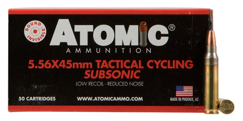 Atomic 00408 Tactical Cycling Subsonic 5.56 NATO 112 GR Soft Point Round Nose 50 Bx/ 10 Cs