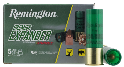 "Remington Ammunition PRX12M Premier 12 Gauge 3"" 437 GR Sabot Slug Shot 5 Bx/ 20 Cs"