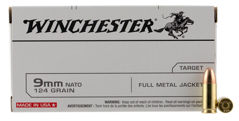 Winchester Ammo Q4318 Best Value 9mm NATO 124 GR Full Metal Jacket 50 Bx/ 10 Cs