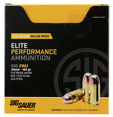 Sig Sauer E10MB1200 Elite Ball 10mm Automatic 180 GR Full Metal Jacket 200 Bx/  Cs - 200 Rounds
