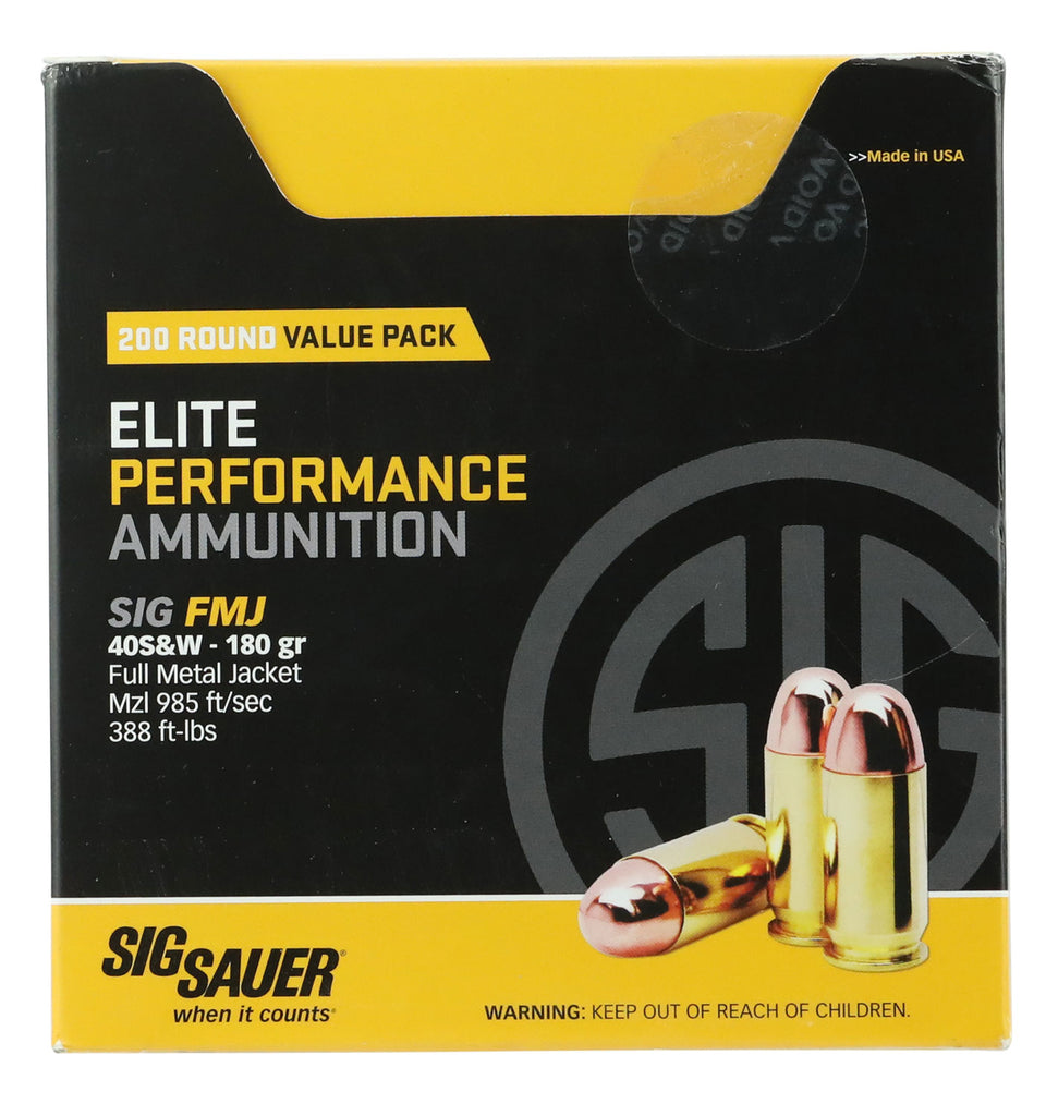 Sig Sauer E40SB2200 Elite Ball 40 Smith & Wesson (S&W) 180 GR Full Metal Jacket 200 Bx/  Cs - 200 Rounds