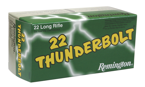 Remington Ammunition TB22B Thunderbolt 22 LR Round Nose 40 GR 500Box/10Case - 500 Rounds