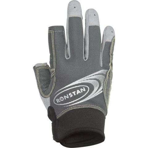 Ronstan Sticky Race Gloves w/3 Full & 2 Cut Fingers - Grey - Small