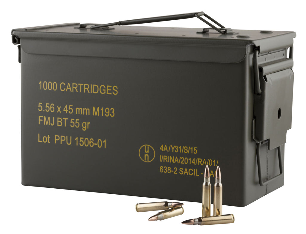 PPU PPN5561MC Mil-Spec M193 Metal Can 223 Remington/5.56 NATO 55 GR Full Metal Jacket Boat Tail 1000 Bx/  Cs - 1000 Rounds
