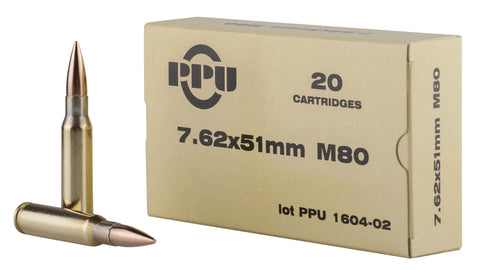 PPU PPN762 Mil-Spec M80 308 Winchester/7.62 NATO 145 GR Full Metal Jacket Boat Tail 20 Bx/ 50 Cs