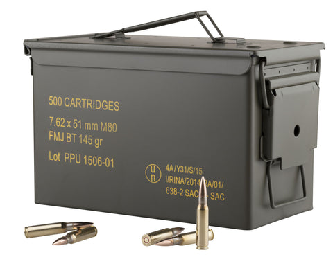 PPU PPN762MC Mil-Spec M80 Metal Can 308 Winchester/7.62 NATO 145 GR Full Metal Jacket Boat Tail 500 Bx/ 1 Cs - 500 Rounds