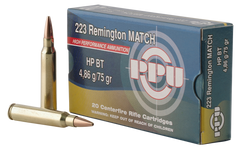 PPU PPM2232 Match 223 Remington/5.56 NATO 75 GR Hollow Point Boat Tail 20 Bx/ 50 Cs