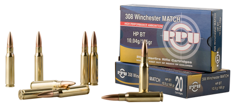 PPU PPM3082 Match 308 Winchester/7.62 NATO 168 GR Hollow Point Boat Tail 20 Bx/ 10 Cs