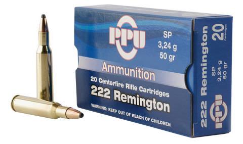 PPU PP222 Standard Rifle 222 Remington 50 GR Soft Point 20 Bx/ 50 Cs